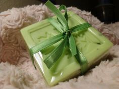Handmade Eucalyptus Speariment scented Avocado Cucumber Soap with Fresh Mint Leaves.....smells a lot like double mint gum! Everytime I smell it I am reminded of the twin commercials from when I was younger!
