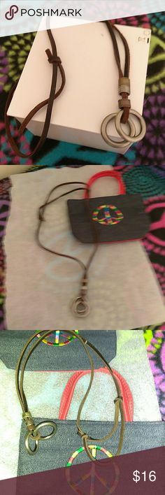 Necklace,leather and steel loops Awesome soft to the touch leather, adjustable, in length, new,,brand new A/X Armani Exchange Accessories Jewelry