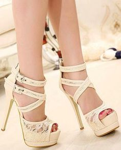 high-heeled lace sandals