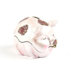"""#Chubby #Piggy Bank Trinket Box Item No. KB00453A01 $34.29 This unique pig trinket box is also a piggy bank! The pink pig opens easily (with a hinge) and closes securely (with a magnetic clasp). Made from durable pewter, this pig weighs a lot and would make an awesome paperweight. Decorated with light and dark pink Swarovski crystals for the perfect amount of sparkle."""" Golden Frog, Ribbon Box, Jewel Box, Keepsake Boxes, Light Decorations, Trinket Boxes, Small Gifts, Piggy Bank, Light In The Dark"""