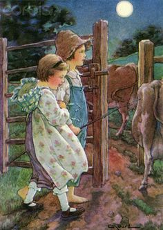 Illustration of children tending cows by Clara M. Burd;http://www.corbisimages.com/stock-photo/rights-managed/42-23148712/illustration-of-children-tending-cows-by-clara