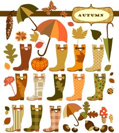 Autumn wellingtons and other elements. Planner Stickers, Scrapbook Stickers, Printable Stickers, Scrapbook Paper, Free Planner, Printable Planner, Happy Planner, Project Life, Free Graphics