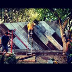 corrugated metal fence construction