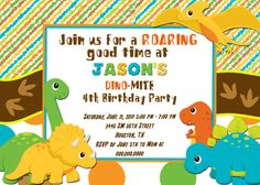 Dinosaur Invitation Party Invitations 1st Birthday Personalized