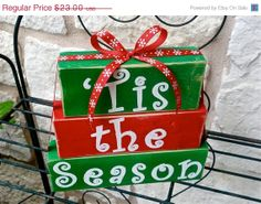 Save 15% Now: Tis the Season - Christmas Decor Holiday Wood Stacked Block Sign with Ribbon on Etsy, $19.55