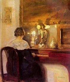 Carl Vilhelm Holsoe (Danish artist, 1863-1935) Lady Playing a Spinet