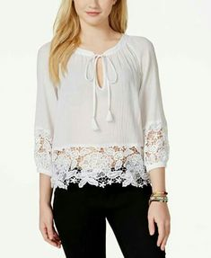 Xoxo juniors' lace-trim peasant blouse chiffon b peasant blo Blouse Styles, Blouse Designs, Boho Fashion, Fashion Outfits, Fashion Design, Western Tops, Peasant Blouse, Junior Tops, Shirt Blouses
