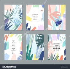 Set of creative universal floral cards in tropical style. - Buy this stock vector and explore similar vectors at Adobe Stock Design Poster, Book Design, Layout Design, Surface Pattern Design, Pattern Art, Cover Design, Plakat Design, Design Typography, Tropical Style