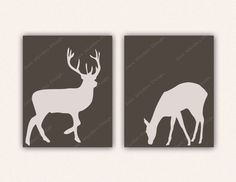 Deer Couple Digital Print Set in Brown - 8x10 Wall Art Instant Download - Printable Posters - Buck and Doe, Stag - Forest, Woodland Animals