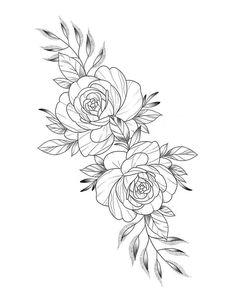 Thigh Tattoos, Rose Tattoos, Flower Tattoos, Body Art Tattoos, Small Tattoos, Stencils Tatuagem, Tattoo Stencils, Floral Tattoo Design, Flower Tattoo Designs