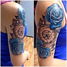 1st tattoo , pocket watch with blue roses and pearl . #inked #inkgirl #september2015