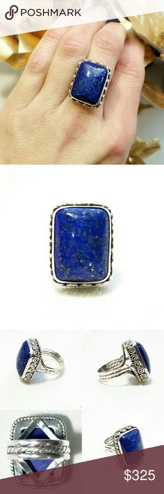"""Vintage Huge Lapis Sterling Hallmarked Ring-6 Unbelievably Stunning Vintage Huge Gold Speckled Lapis Lazuli Sterling Silver Hallmarked Ring-Size 6. Stone measures a little over an inch x. 6"""".  I've never seen so much gold in a lapis stone before! Set high, with intricate sterling scroll work around the stone and band. Marked """"BC 925"""", this is a ring you will have and love forever. Excellent condition. Vintage Jewelry Rings"""