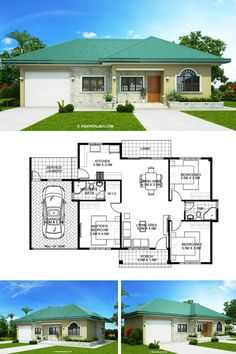 One storey Bungalow House with 3 bedrooms Simple Bungalow House Designs, Modern Bungalow House, Simple House Design, 3 Bedroom Bungalow, Small Bungalow, 3 Bedroom House, Free House Plans, Family House Plans, Bungalow Floor Plans