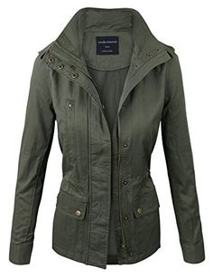 makeitmint Women's Zip Up Military Anorak Jacket w/ Pockets Small Olive
