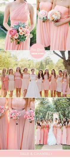 Vestidos de dama tono cuarzo rosa