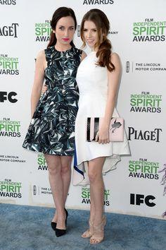 Zoe Lister Jones Actress Anna Kendrick (R) and Zoe Lister Jones attend the 2014 Film Independent Spirit Awards at Santa Monica Beach on Marc...