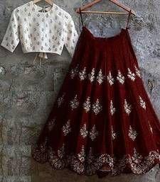 Banglory Silk Brown & White Embroidery Latest New Designer Lehenga Choli Lehenga Choli Designs, Ghagra Choli, Indian Attire, Indian Wear, Indian Outfits, Indian Lehenga, Half Saree Designs, Blouse Designs, Party Kleidung