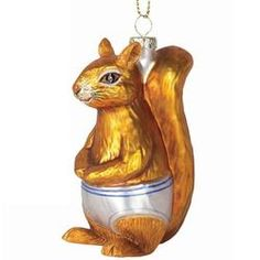 Squirrel In Underpants Glass Ornament
