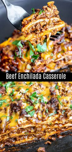 This easy cheesy Beef Enchilada Casserole is layered with seasoned ground beef onions cheese red enchilada sauce and flour tortillas Its a delicious Mexican casserole tha. Ground Beef Recipes For Dinner, Dinner With Ground Beef, Easy Dinner Recipes, Ground Chuck Recipes Dinners, Casseroles With Ground Beef, Mexican Ground Beef Casserole, Easy Mexican Casserole, Best Ground Beef Recipes, Mexican Recipe With Ground Beef