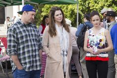 "Here's Luke, Lorelai, and Rory hanging out together in Stars Hollow. | Oh My God, There Are Even More Photos From ""Gilmore Girls: A Year In The Life"""