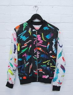 Emma Mulholland bomber jacket, fashion, style, colorful, retro style, 90s