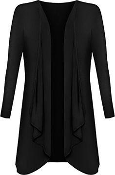 Plus Size Womens Plain Long Sleeve Open Top Ladies Waterfall Cardigan -  16-26   e88237d7d