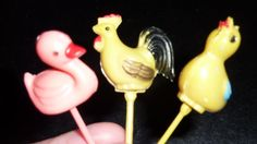 lot of (3) vintage pastic cake / cupcake toppers (bird, duck, rooster)
