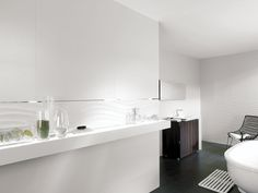 Porcelanosa Qatar Nacar | Dimensional Textured Pearlescent Wave Design | Available at Ceramo
