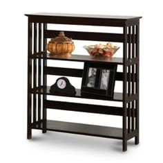 """Cappuccino Book Shelf / Case by The Furniture Cove. $79.99. Book Case Shelf. 30"""" x 12 1/2"""" x 36""""H. Solid Hardwood. 3 Tiers. This is a new item made of solid hardwood. This is a great / sturdy shelf unit with 3 tiers! These make great gifts! They also work well in closets as shoe racks or in the bedroom.  This rich cappuccino stain will blend in with your furniture and make a beautiful accent piece. Great for holding books, CD's, artwork, and plants. Fits in nice..."""