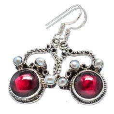 "Ana Silver Co Garnet, Cultured Pearl 925 Sterling Silver Earrings 1 1/2"" #AnaSilverCo"