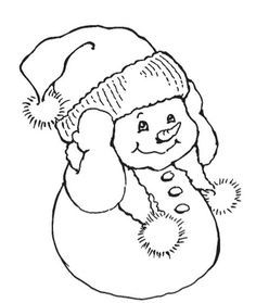 Stampendous - Cling Mounted Rubber Stamp - Snowman Warm Ears