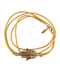 Ettika Lace Hamsa Wrap Leather Bracelet
