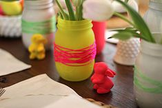 easy diy party decor...I think I'd like the string wrapped around straight-sided glass instead
