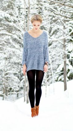 cozy sweater with leggings and boots