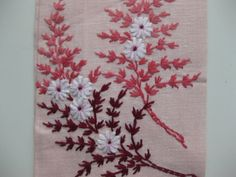 Vintage Hand Embroidery Hand Towel Pink Burgundy