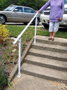 See how people just like you installed their own exterior stair railing with our Simple Rail kits. They're easy to use, sturdy, and easy to build. Outside Stair Railing, Pipe Railing, Outdoor Stair Railing, Iron Stair Railing, Stair Handrail, Deck Stairs, Porch Railings, Outdoor Steps, Patio Steps