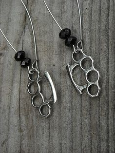 Silver Brass Knuckles Earrings by InkandRoses13