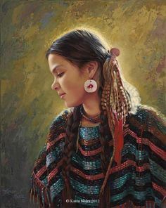 """Pensive""Original Oil 14"" x 11"" -Native American Paintings by Karen Noles"