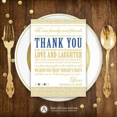 Printable Thank You Placement Cards Gold 5x7 Wedding INSTANT DOWNLOAD DIY Golden Table Sign Thank You Place Card for Print at Home