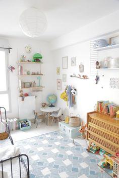 Kids playroom, blue tile