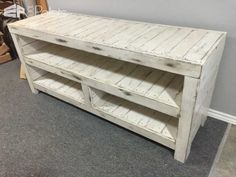 Made from 5 pallets. Stained, painted and distressed.