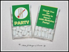 Tic Tac Labels #Cricket #Mens #Boys #Birthday #Bunting #Party #Decorations #Ideas #Banners #Cupcakes #WallDisplay #PopTop #JuiceLabels #PartyBags #Invites #KatieJDesignAndEvents #Personalised #Creative