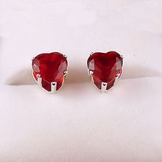 10 carat Heart Cut Red Fire Garnet CZ 5mm Stud Post by 1000jewels, $11.00