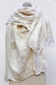 Nuno felted scarf weeping strings. Exclusive by FELTbyNatalie