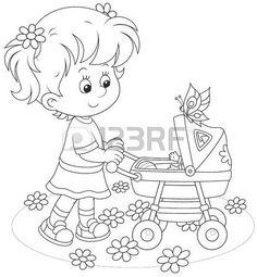BAMBINO CHE VA A SCUOLA: Ragazza con un passeggino giocattolo per bambini Vettoriali