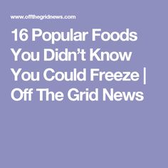 16 Popular Foods You Didn't Know You Could Freeze  | Off The Grid News