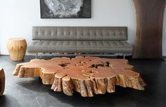 tree trunk coffee table. exquisite