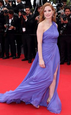 """I guess we can call this color """"pastel blue or indigo""""...just love this color #Jessica Chastain in #ElieSaab"""