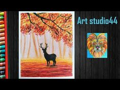 Fall Scenery Drawing with oil pastels for kids-Reindeer-step by step-Beginners -. - Travel Tips Oil Pastel Paintings, Oil Pastel Drawings, Oil Pastels, Beginner Art, Poster Design, Autumn Scenery, Step By Step Painting, Autumn Art, Reindeer