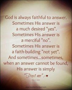 God is always faithful . . .